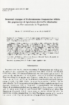 Seasonal changes of B-chromosome frequencies within the population of Apodemus flavicollis (Rodentia) on Cer mountain in Yugoslavia