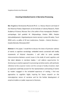 Enacting Embodied Events in Narrative Processing