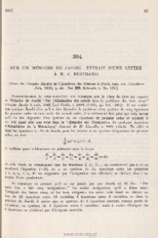 Sur un memoire de Jacobi. Extrait d'une lettre a M. J. Bertrand
