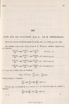 Note sur les fonctions al (x) &c., de M. Weierstrass