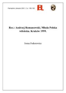 Andrzej Romanowski, Młoda Polska Wileńska. Indeks nazwisk Krystyna Kajtoch. Kraków 1999