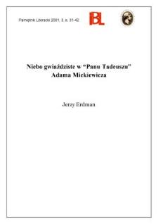 """Niebo gwiaździste w """"Panu Tadeuszu"""" Adama Mickiewicza"""