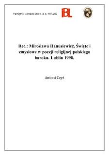 Mirosława Hanusiewicz, Święte i zmysłowe w poezji religijnej polskiego baroku. Lublin 1998