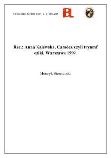Anna Kalewska, Camões, czyli tryumf epiki. Warszawa 1999