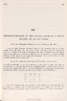 Theorems relating of the Canonic Roots of a Binary Quantic of an odd order