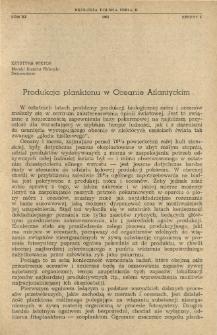 Produkcja planktonu w Oceanie Atlantyckim