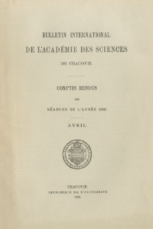 Bulletin International de L' Académie des Sciences de Cracovie : comptes rendus