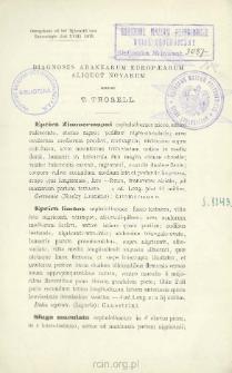 Diagnoses aranearum Europaearum aliquot novarum