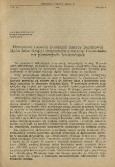Dynamika rozwoju populacji mszycy burakowej (Aphis fabae Scop.) i drapieżców z rodziny Coccinellidae na plantacjach buraczanych