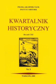 Kwartalnik Historyczny R. 112 nr 3 (2005), Title pages, Contents