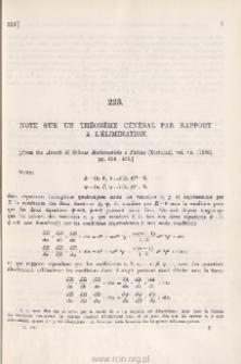 Note sur un théorème général par rapport à l'élimination