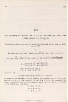Sur quelques formules pour la transformation des intégrales elliptiques
