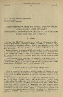 Międzynarodowy program badań biosfery (MAB) proponowany przez UNESCO