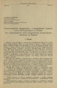 Dotychczasowe osiągnięcia i perspektywy rozwoju nauk ekologicznych w Polsce