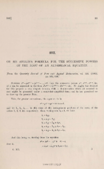 On Mr Anglin's formula for the successive of the root of an algebraical equation