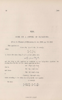 Note on a system of equations