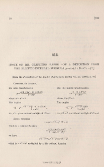 """[ Note on Mr Griffith's paper """" On a deduction from the elliptic-integral formula y = sin ( A+ B+ C+ ...) """" ]"""