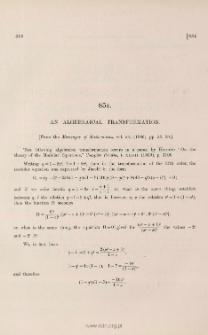 An algebraical transformation
