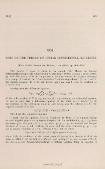 Note on the theory of linear differential equations