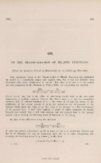 On the transformation of elliptic functions