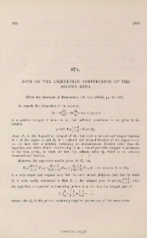 Note on the Legendrian coefficients of the second kind