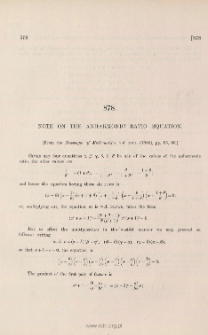 Note on the anharmonic ratio equation