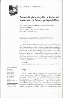 Zawartość ginsenozydów w kulturach komórkowych Panax quinquefolium