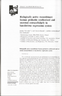 Biologically active recombinant human prolactin synthesised and secreted extracellularly in baculovirus expression system