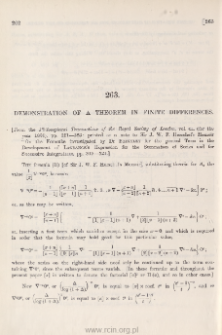 Demonstration of a theorem in finite differences