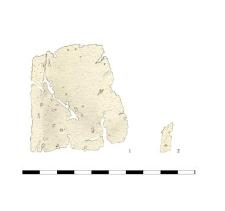 sheet, tin, two fragment