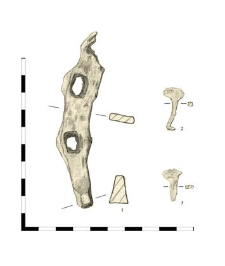 horseshoe, iron, fragment (1), two nails, iron (2,3)