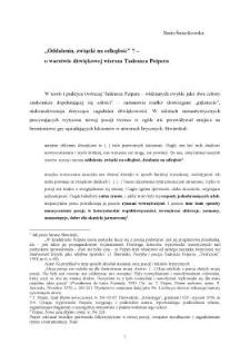 """""""Oddalenia, związki na odległość"""" ? – o warstwie dźwiękowej wiersza Tadeusza Peipera"""