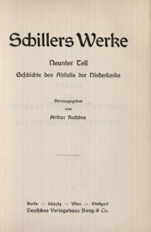 Schillers Werke. 9 Tl, Geschichte des Abfalls der Niederlande