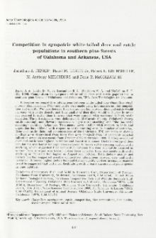 Competition in sympatric white-tailed deer and cattle populations in southern pine forests of Oklahoma and Arkansas, USA