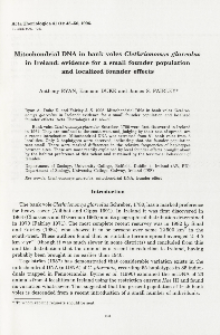 Mitochondrial DNA in bank voles Clethrionomys glareolus in Ireland: evidence for a small founder population and localized founder effects