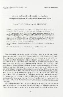 A new subspecies of Myotis mystacinus (Vespertilionidae, Chiroptera) from East Asia