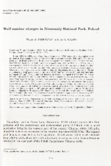 Wolf number changes in Bieszczady National Park, Poland