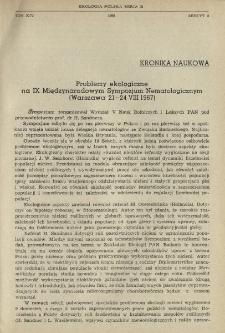 Problemy ekologiczne na IX Międzynarodowym Sympozjum Nematologicznym (Warszawa 21-24 VIII 1967)