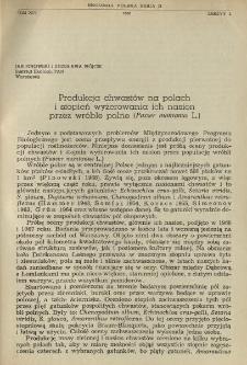 Produkcja chwastów na polach i stopień wyżerowania ich nasion przez wróble polne (Passer montanus L.)