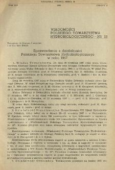 Sprawozdanie z działalności Polskiego Towarzystwa Hydrobiologicznego w roku 1967