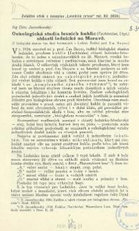 Oekologická studia lesnich kuklic (Tachinidae, Dipt.) oblasti lednícké na Moravé