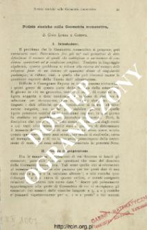 Notizie storiche sulla Geometria numerativa