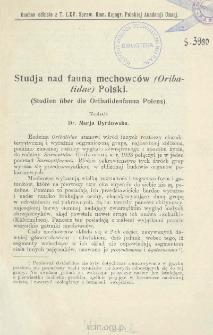 Studja nad fauną mechowców (Oribatidae) Polski = Studien über die Oribatidenfauna Polens)