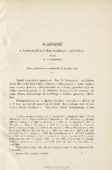 Wiadomość o korespondencyi Kochańskiego z Leibnizem