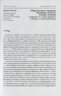 Długowieczność organizmu klonalnego: ewolucja, ekologia, fizjologia