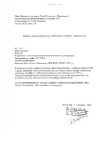Kartoteka przypadków klinicznych chorób nerwowo-mięśniowych (2013) - opis nr 23/13
