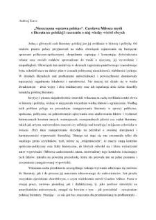 """""""Nieszczęsna »sprawa polska«"""". Czesława Miłosza myśli o literaturze polskiej i szerzeniu o niej wiedzy wśród obcych"""
