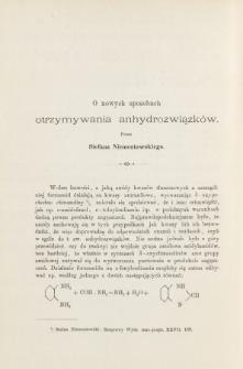 O nowych sposobach otrzymywania anhydrozwiązków