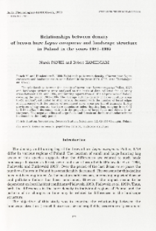 Studies on the European hare. 54. Relationship between density of brown hare Lepus europaeus and landscape structure in Poland in the years 1981-1995