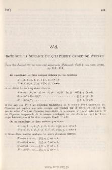 Note sur la surface du quatrième ordre de Steiner